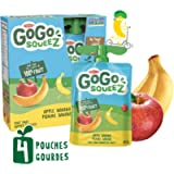 GoGo squeeZ Unsweetened Applesauce Pouches, Apple Banana Flavour, Nut-Free School Snack for Kids, 360 Grams, 4 Pouches…