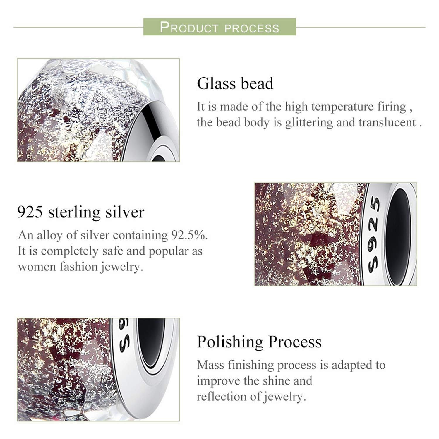 EverReena Beads Sparkling Murano Glass for Silver Bracelets