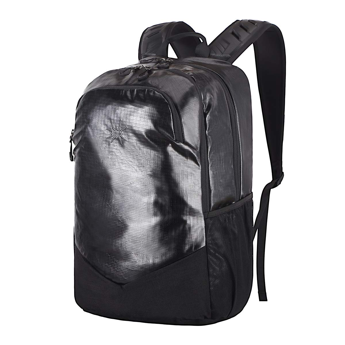 WWWW Laptop Backpack PU 17.3 Inch School Backpack Carry on Book bags Black