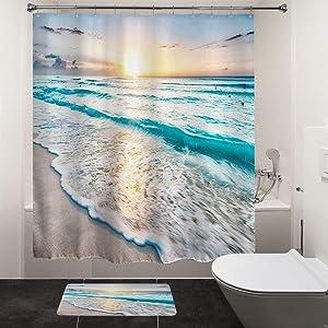 "HIYOO Bathroom Tropical Beach Shower Curtain Sets, Ocean Sea Coast Seashore Seaside Waves Bathtub Shower Curtain with Hooks, Waterproof Polyester Fabric - Sunrise 60"" W x 72"" L"