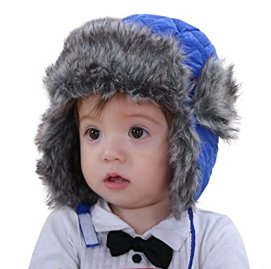 Connectyle Toddler Boys Girls Kids Trapper Hats with Faux Fur Fleece Lined  Aviator Winter Hats Earflap Cap  Amazon.in  Clothing   Accessories 4d15bbcdfd2