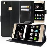 "Huawei P9 Lite (2016) 5.2"" Wallet Case, Premium PU Leather Book Stand Case Soft Gel TPU Card Slots Magnetic Closure Protective Cute Cover Skin for Huawei P9 Lite (Black Book Case)"