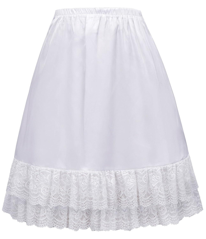GRACE KARIN Women Double Layered Satin Skirt Extender Lace Half Slip CLAF0416