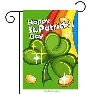 "Briarwood Lane St. Patrick's Day Rainbow Garden Flag Shamrock Coins 12.5"" x 18"""