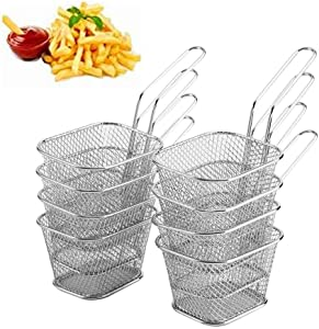 Yosooo 8Pcs Wire Chip Fryer Basket, Mini Stainless Steel Chips Deep Fry Baskets Food Presentation Strainer Potato Cooking Tool Ideal