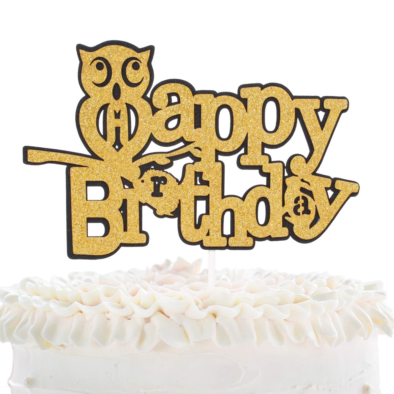 Tremendous Owl Happy Birthday Cake Topper Woodland Creatures Owl Rabbit Funny Birthday Cards Online Amentibdeldamsfinfo