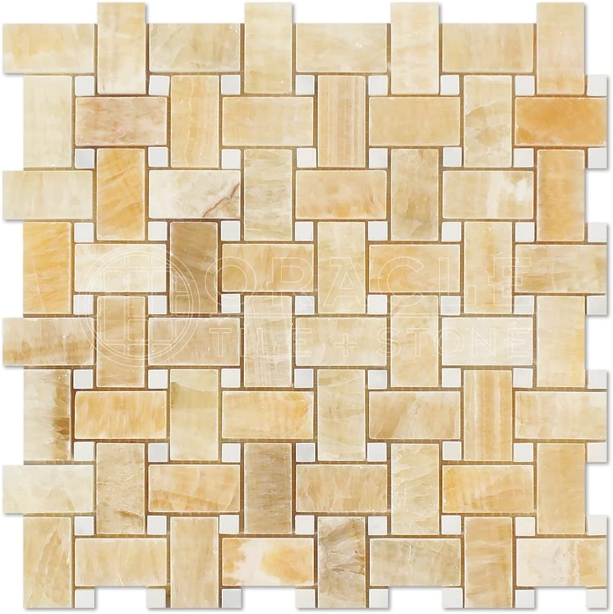 - Honey Onyx Basketweave Mosaic Tile With White Marble Dots