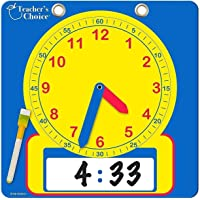 """Educational Teaching Clock   Large 12"""" Demonstration Learning Time Clock with Erasable Writing Surface to Teach Time"""