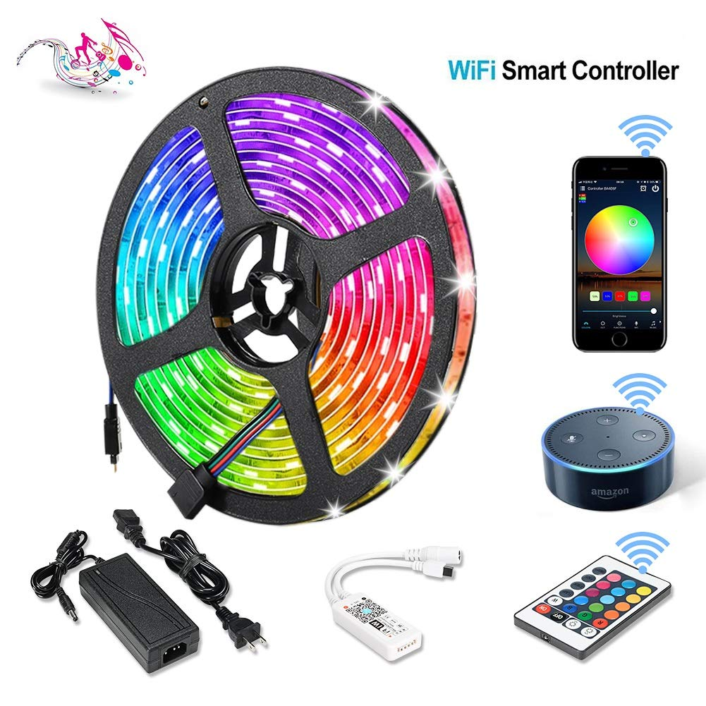 Litake WiFi LED Strip Lights with Remote, App Controlled LED Light Strips 16.4ft/5M, SMD 5050 Smart Sound Activate LED Strips,Waterproof Remote Colorful Led Lights Working with Alexa Android/iOS Syste