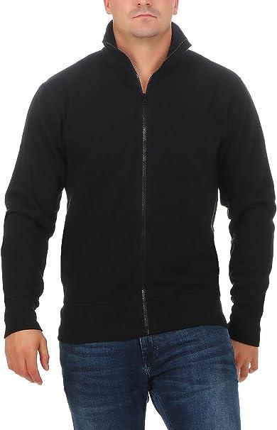 Happy Clothing Herren Sweatjacke ohne Kapuze Zip Jacke Reißverschluss mit Kragen