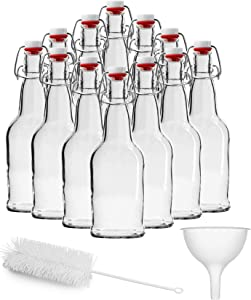 Chef's Star Clear Swing Top Glass Bottle with Airtight Flip Top Stoppers for Home Brewing Kombucha, Beer, and Other Beverages, Brush and Funnel Included, 16 Ounce, 12 Pack