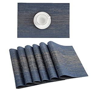 Pauwer Placemats Set of 6 for Dining Table Plastic Woven Vinyl Placemats Heat-Resistant Stain Resistant Washable Kitchen Table Mats Wipe Clean (6, Blue)