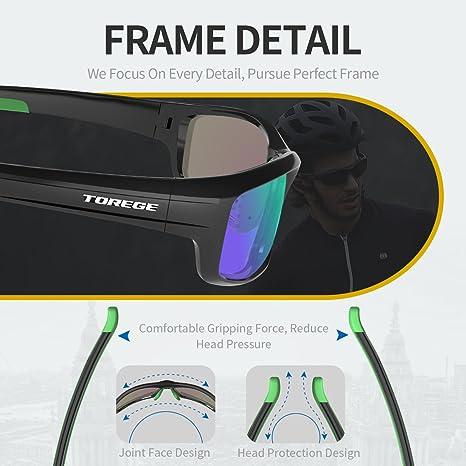 Gafas de sol deportivas Torege TR90 polarizadas para hombres y mujeres, para ciclismo, correr, pescar, jugar al golf, montura irrompible, TR034, Black/Green ...