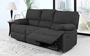 Divano Roma Furniture Classic and Traditional Dark Grey Fabric Oversize Recliner Chair, Love Seat, and Sofa