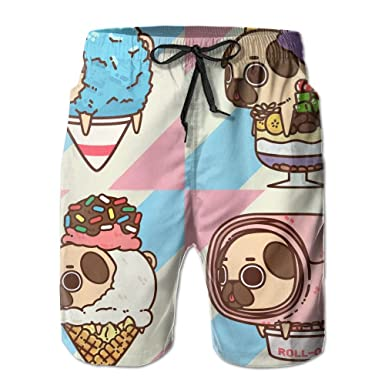 Amazon mens beach pants lovely pug ice cream roll summer amazon mens beach pants lovely pug ice cream roll summer surfing board shorts swim trunks cargo shorts quick dry clothing ccuart Image collections