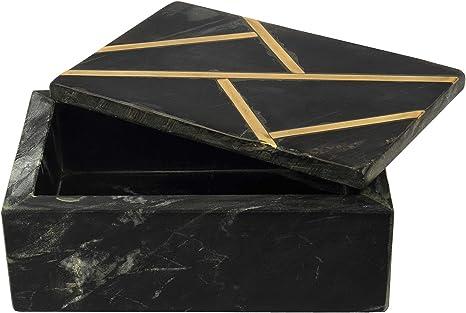 GAURI KOHLI Hermosa mármol Negro Caja con Oro embutido (tamaño 6