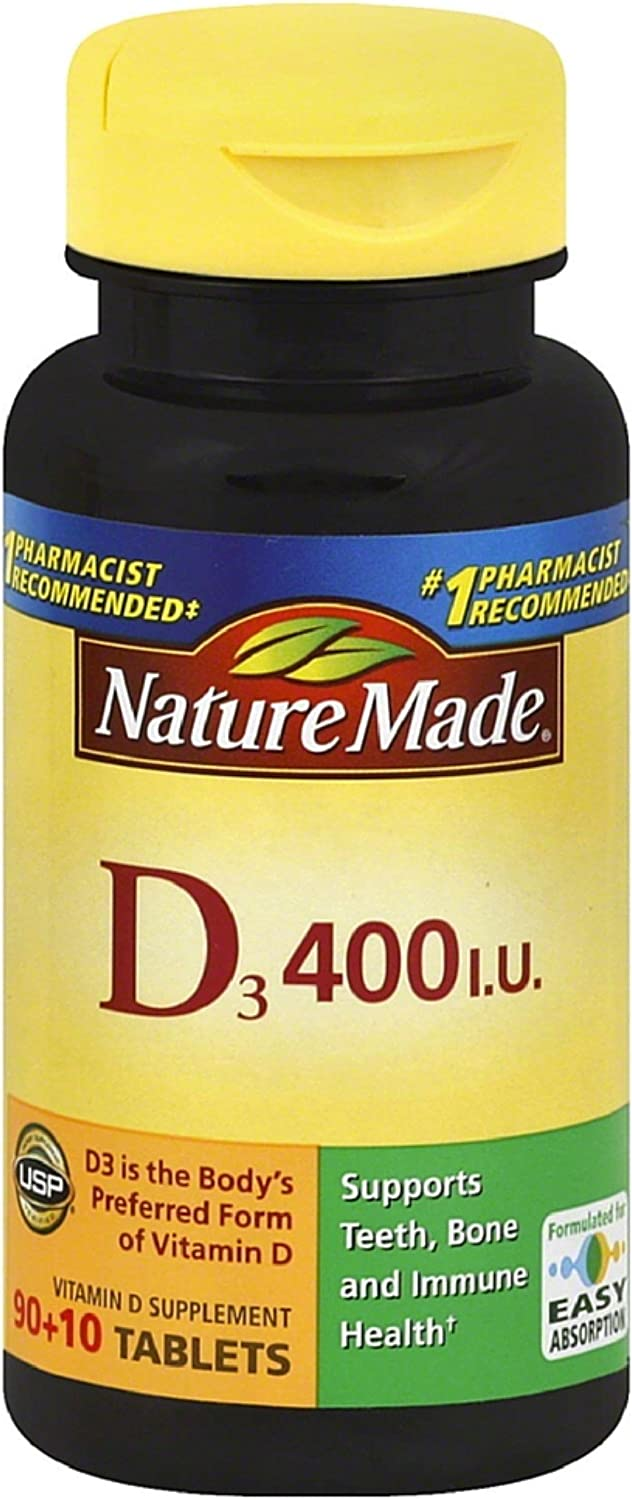 Nature Made Vitamin D3 400 IU Tablets 100 ea (Pack of 7)