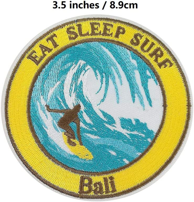 Cute-Patch TM Bali EAT SLEEP SURF Embroidered Iron On sew on patches for Jeans backpack Travel Souvenir