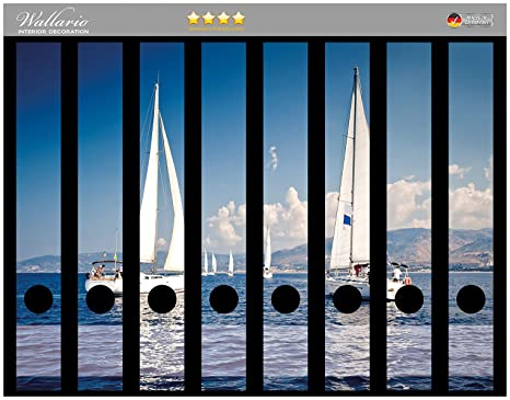 Lomo de archivadores Pegatinas Barco en el mar Mediterráneo Premium Calidad – Tamaño 8 x 3