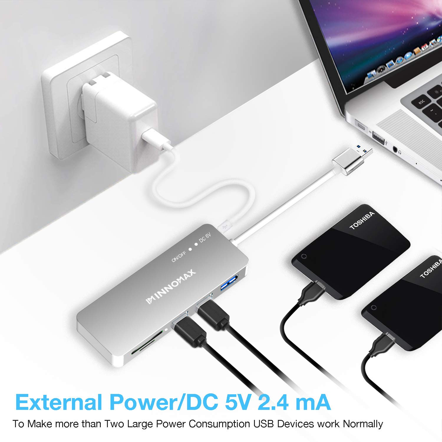 USB 3.0 Powered Hub, INNOMAX Aluminum USB 3.0 Hub with 3 USB 3.0 Ports and Smart Fast Charging Port, External Power Port, SD/ Micro SD Card Reader for MacBook / Air, Mac Pro / Mini, iMac, PC, Silver