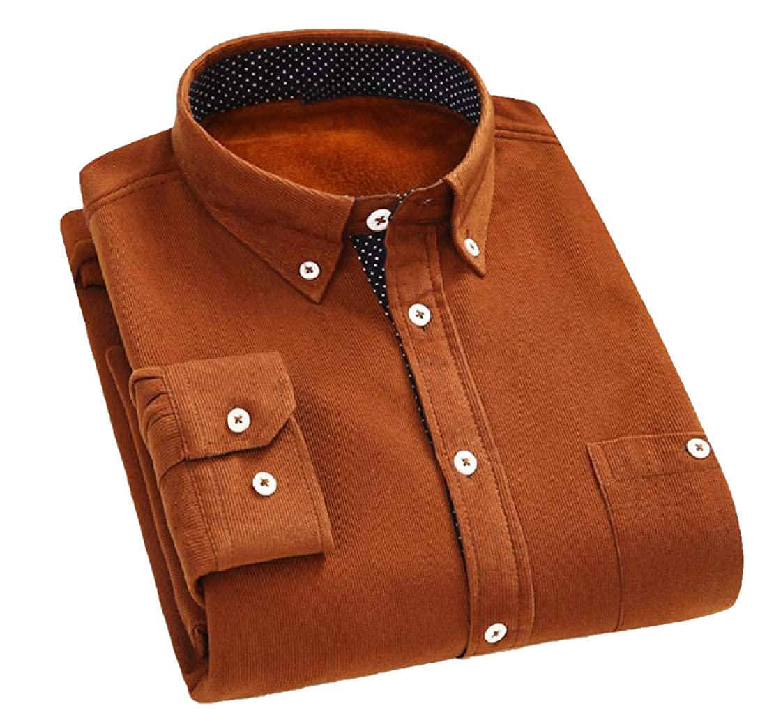 YUNY Men Everyday Regular Fit Plus Velvet Button Down Dress Shirt Khaki L