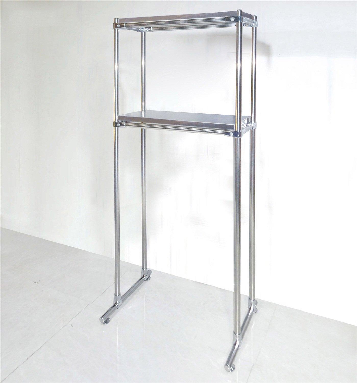 Porte-étagères en acier inoxydable - étagère de toilette - machine à laver le plancher - étagères - étagères réglables