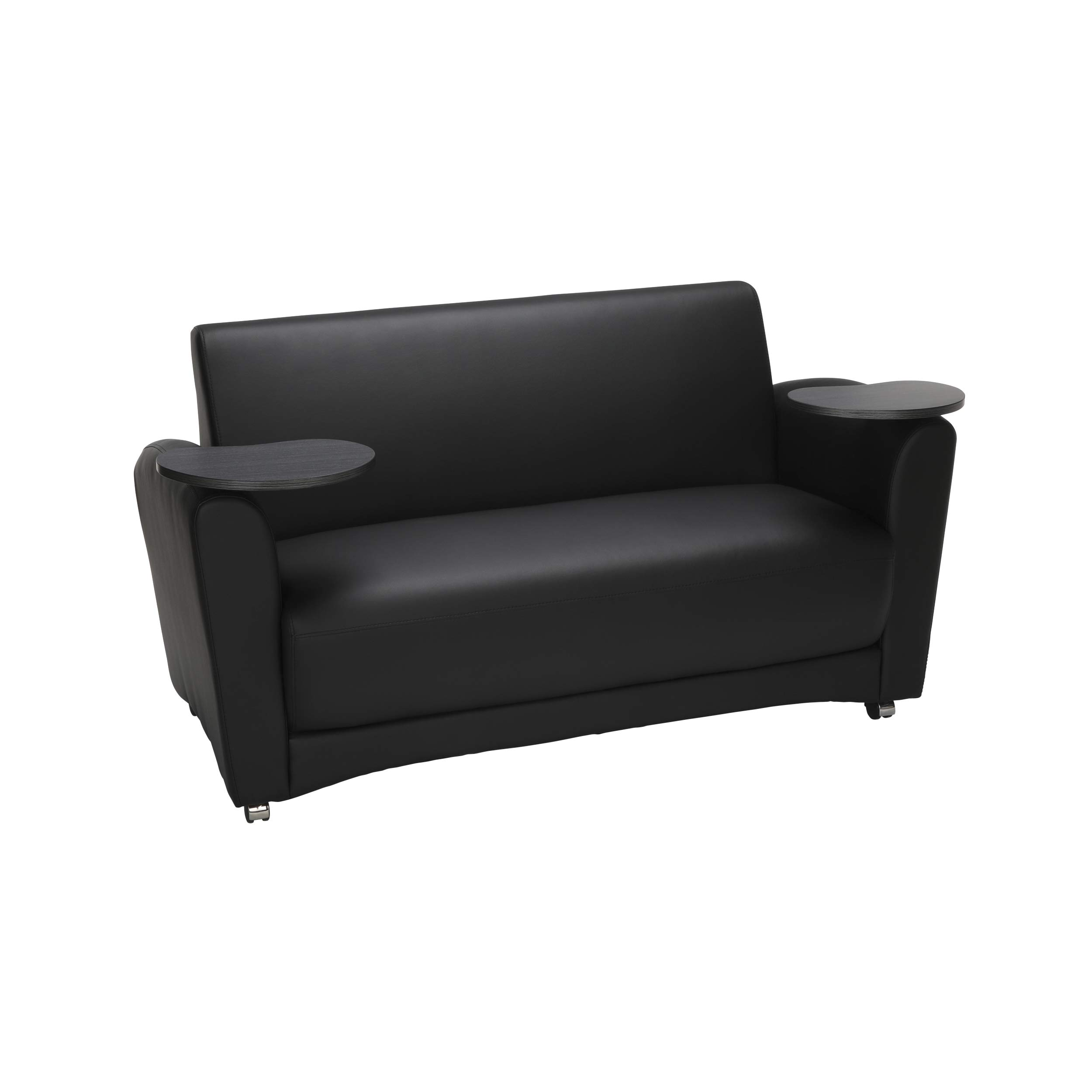 OFM InterPlay Series Social Seating Sofa with Double Tungsten Tablets, in Black (822-PU606-TNGST)