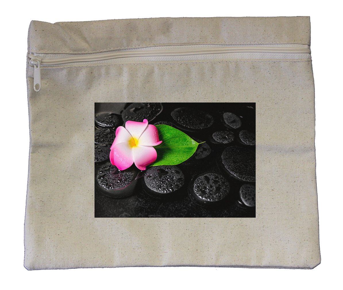 Canvas Zipper Pouch Tote Bag 10''X12'' Spa Background Of Green Leaf Calla Lily