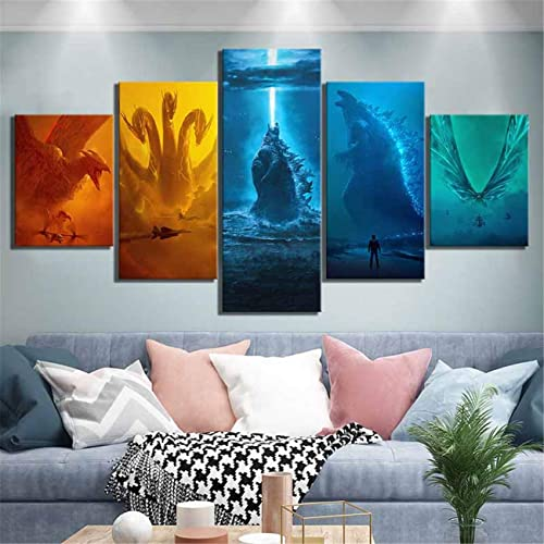 Large Modern Framed 5 Panels Canvas Prints Monster Movie Posters Pictures Paintings on Canvas Wall Art Ready to Hang