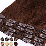 Standard Weft - 20-55CM Extensiones de clip de pelo natural cabello humano - 100% Remy hair – 8 piezas 18 clips