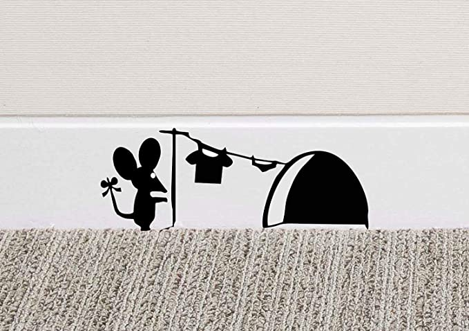 Image of213B Mouse Hole Wall Art Sticker Washing Vinyl Decal Mice Home Skirting Board Funny by Black Country Vinyls