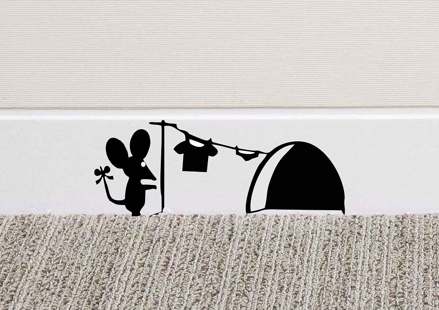 213B Mouse Hole Wall Art Sticker Washing Vinyl Decal Mice Home Skirting Board Funny by Black