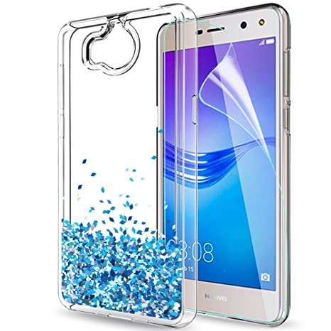promo code 65e20 d89fc LeYi Case for Huawei Y6 2017 with Screen Protector, Girl Women 3D Glitter  Liquid Moving Cute Personalised Clear Transparent Silicone Gel TPU ...