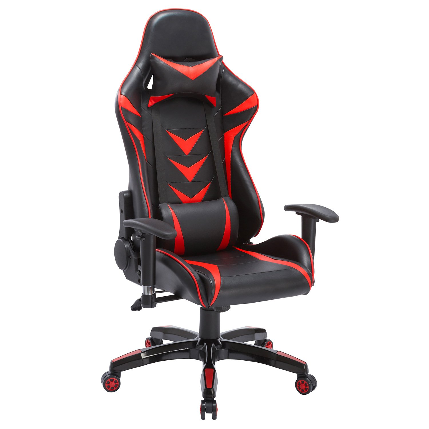 Modern-Depo High-Back Swivel Gaming Chair with Lumbar Support Headrest Racing Style Ergonomic Office Desk Chair – Black Red
