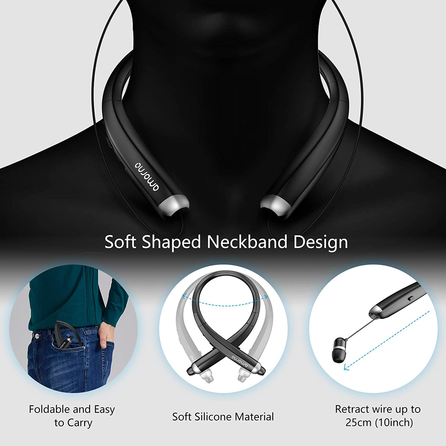 Foldable Bluetooth Headphones, AMORNO Wireless Neckband Sports Headset with Retractable Earbuds, Sweatproof Noise Cancelling Stereo Earphones with Mic Black