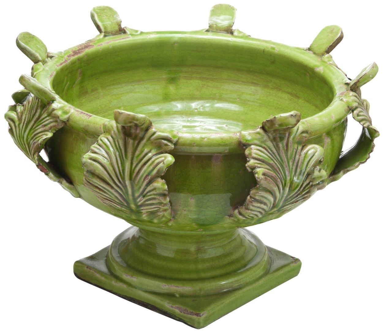 Abigails 13.75 by 13.75 by 10-Inch Acanthus Vinci Centerpiece, Medium, Green by Abigails