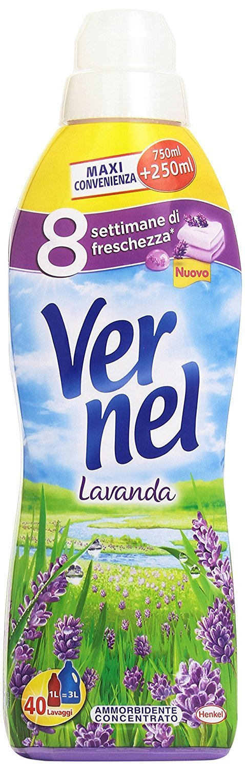 Vernel – Concentrated Fabric Softener, Lavender Scent 1 Litre - Pack of 6