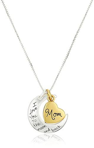 """Two-Tone Sterling Silver """"Mom I Love You To The Moon and Back"""" Heart Pendant Neckl..."""