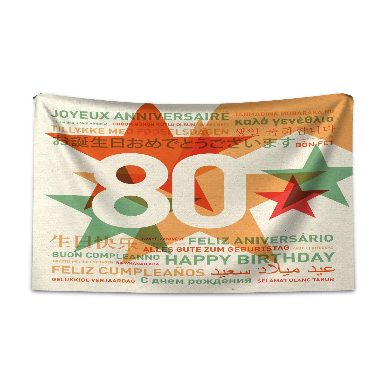 ABAKUHAUS Cumpleaños 80 Tapiz de Pared y Cubrecama Suave ...