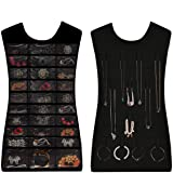 Cpixen Dual Sides Hanging Jewelry Non-woven Organizer 30 Pockets 14 Hook-and loop Tabs Holder Storage Bag Without Hanger (Black or Pink)