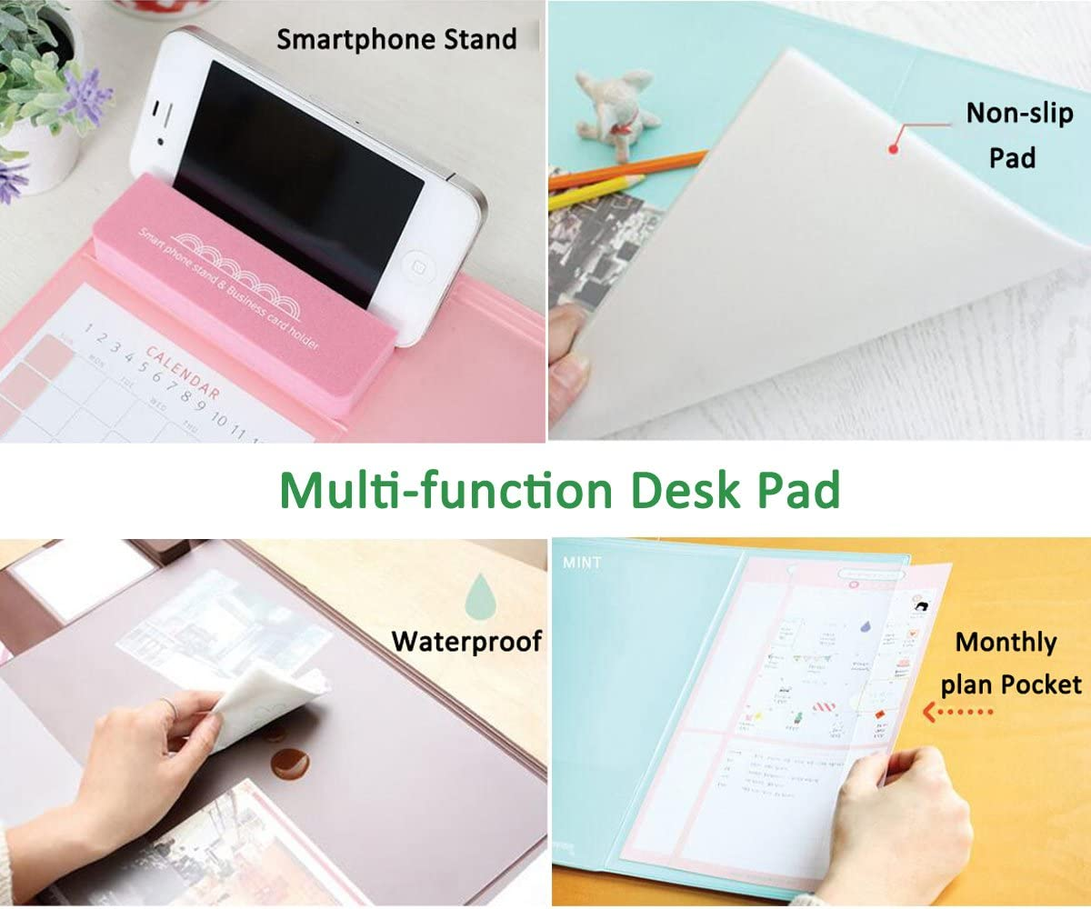 Large Size Mouse pad Anti-Slip Desk Mouse Mat Waterproof Desk Protector Mat with Smartphone Stand Calendar and Pen Groove Dividing Rule Mint Various Colors Pockets
