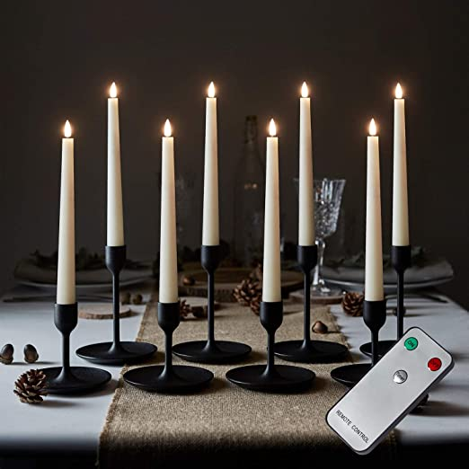 Lights4fun Set Of 8 Ivory Truglow Taper Candles With Remote Battery Led Flameless Real Wax Timer Amazon Co Uk Kitchen Home