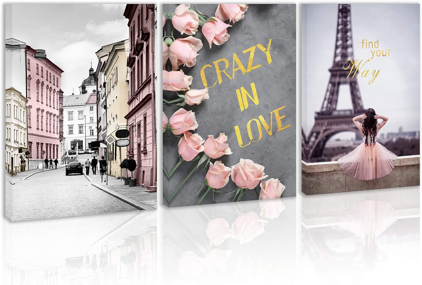 Girl Crazy in Love Eiffel Tower Wall Art Decor Pink Rose Canvas Painting Kitchen Street View of France Building Prints Pictures for Home Living Dining Room