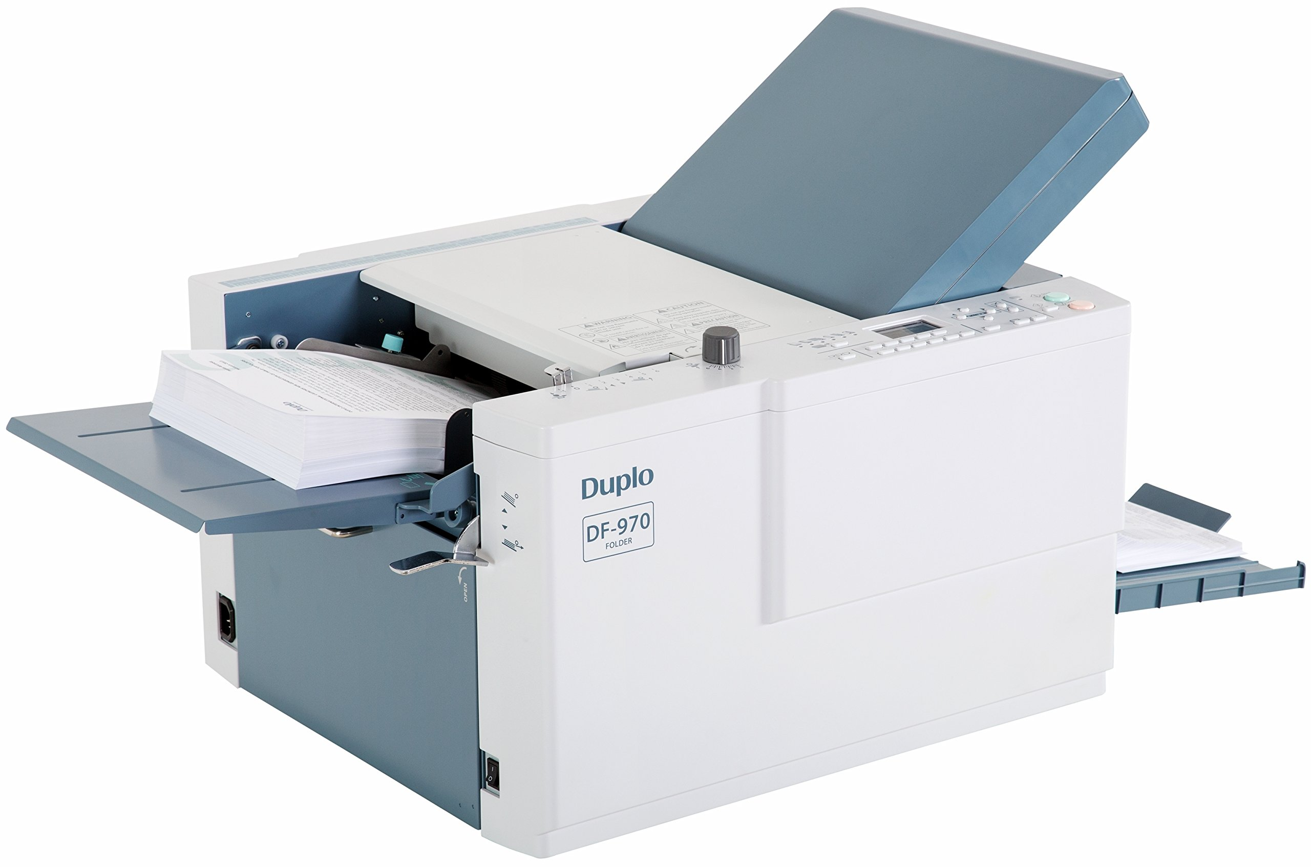 Duplo DF-970 Automatic Paper Folder, 3'' x 52-12'' x 18'' Paper Size, 52.3-157 gsm Paper Weight, Up to 500 sheets 64 gsm Feeding Tray Capacity, High speed folding up to 242 sheets per minute by Duplo