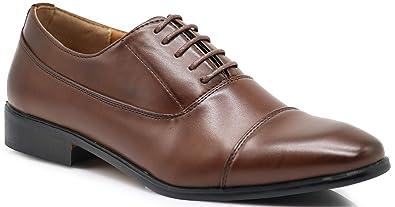 4d1dc7bc54 LK01 Men Dress Loafers Cap Toe Lace Up Formal Business Designer Oxfords  Dress Shoes (6.5