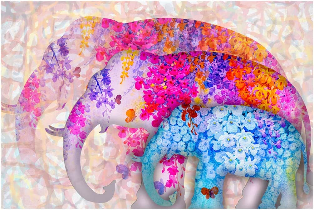 GZKLSMY 5D DIY Diamond Painting Full Drill by Number Kits, Full Drill Crystal Rhinestone Embroidery Pictures Arts Craft for Home Wall Decor Gift Christmas Elephant & Family