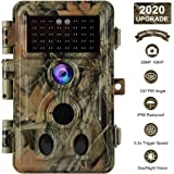 """BlazeVideo No Glow Game Trail Camera 16MP HD 1080P IP66 Waterproof 120° 2-PIR Motion Activated Sensor 0.2S Trigger Deer Hunting Cam for Capturing Wildlife NO Flash Infrared 65ft Night Vision 2.4"""" LCD"""