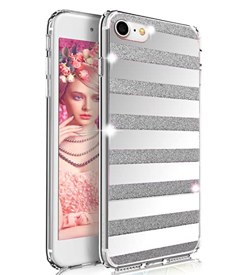 promo code 85d39 5635b Glitter Phone Case Striped Mirror Stars Pattern Powder with Reflex Grip for  iPhone 7+ and 7s PLUS - by Parrotface Products