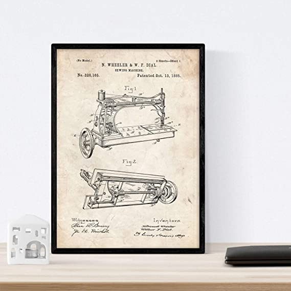 Nacnic Poster con Patente de Maquina de Coser. Lámina con diseño ...
