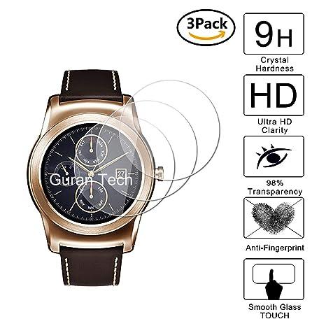 Guran [3-Unidades] Protector de Pantalla Vidrio Cristal Templado para LG Watch Urbane Smartwatch Cristal Vidrio Templado Film (9H, 2.5D Edge, 0.3mm)